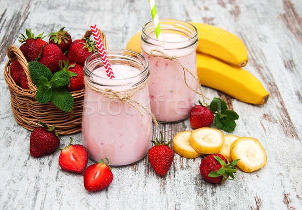 Stock fotó: Joghurt · eprek · banán · öreg · fa · asztal · étel