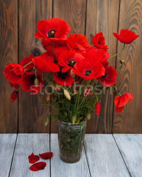 Mohnblumen Vase dunkel Grunge Blume Frühling Stock foto © almaje