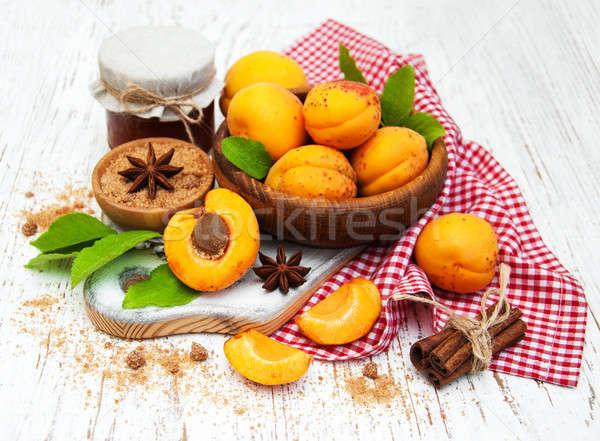 Bowl with fresh Apricots Stock photo © almaje