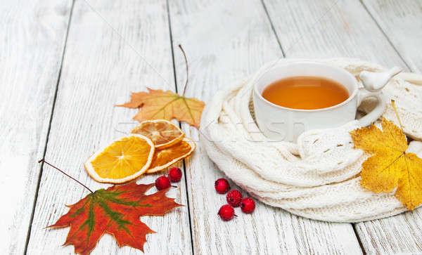Sıcak çay baharatlar şarap ahşap gıda Stok fotoğraf © almaje