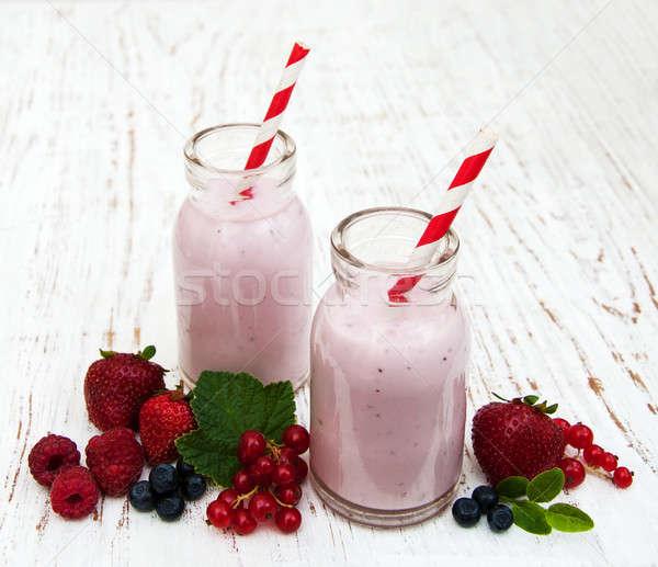 Yoğurt taze karpuzu ahşap doğa yaprak Stok fotoğraf © almaje