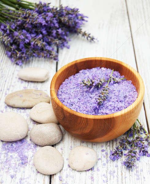 Lavanda massagem sal velho flor Foto stock © almaje