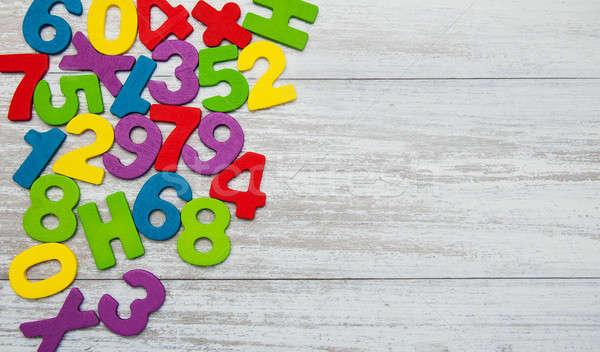 Renkli ahşap sayılar eski çocuk eğitim Stok fotoğraf © almaje
