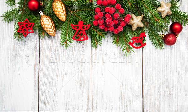 christmas fir tree with decoration Stock photo © almaje