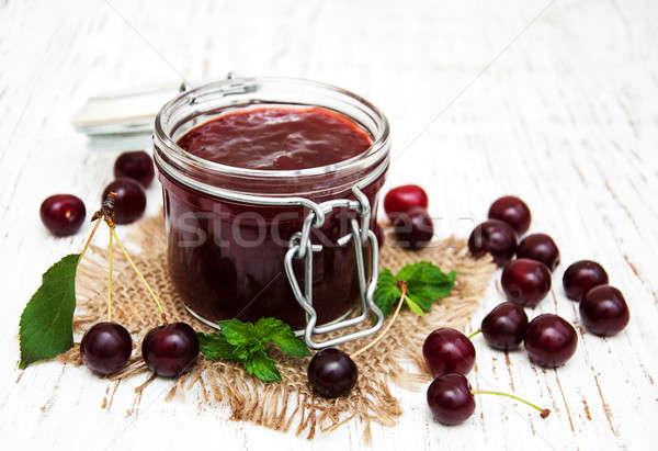 Cherry jam with fresh berries Stock photo © almaje