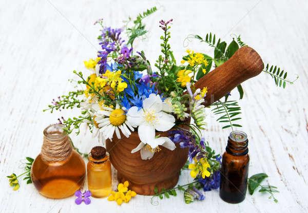 Natuur olie oude houten bloem Stockfoto © almaje