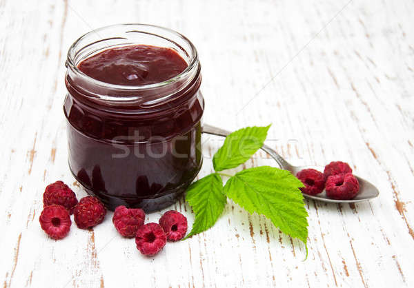 Raspberry jam with fresh berries Stock photo © almaje