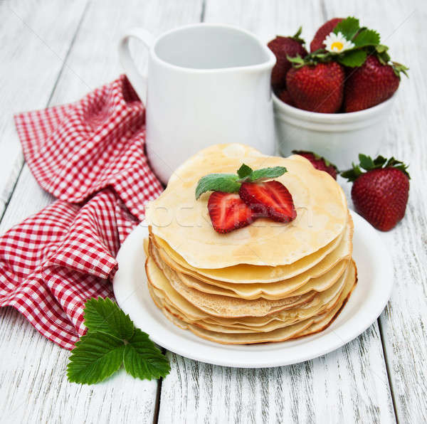 pancakes with strawberries Stock photo © almaje