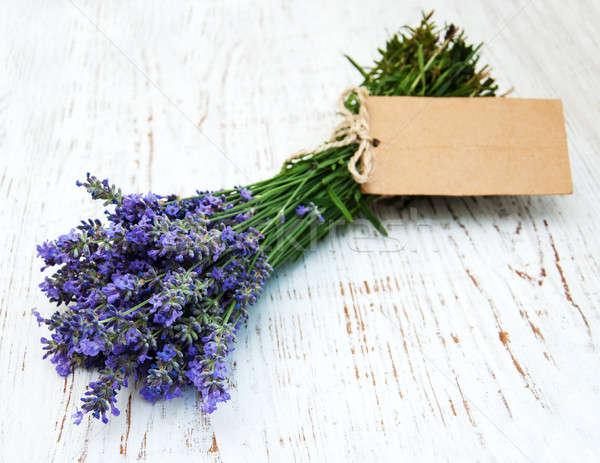 Lavendel bloemen tag oude houten bloem Stockfoto © almaje