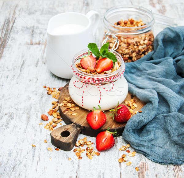 Joghurt granola reggeli eprek egészség tej Stock fotó © almaje