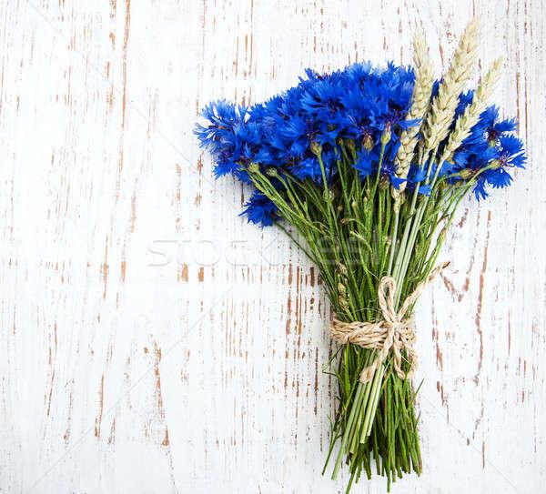 Blauw oude witte houten bloemen schoonheid Stockfoto © almaje