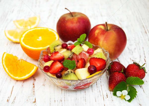 サラダ 新鮮な 果物 古い 木製 自然 ストックフォト © almaje