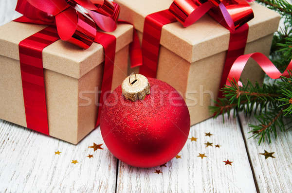 Karácsony ajándékdobozok díszítések öreg fából készült fény Stock fotó © almaje
