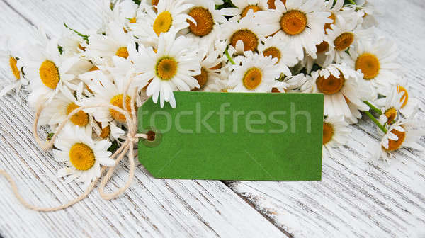 Boeket madeliefjes oude houten bloemen papier Stockfoto © almaje