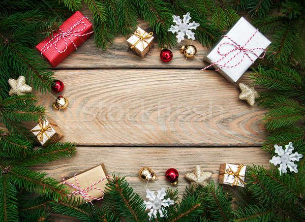 Natal férias árvore decoração mesa de madeira madeira Foto stock © almaje