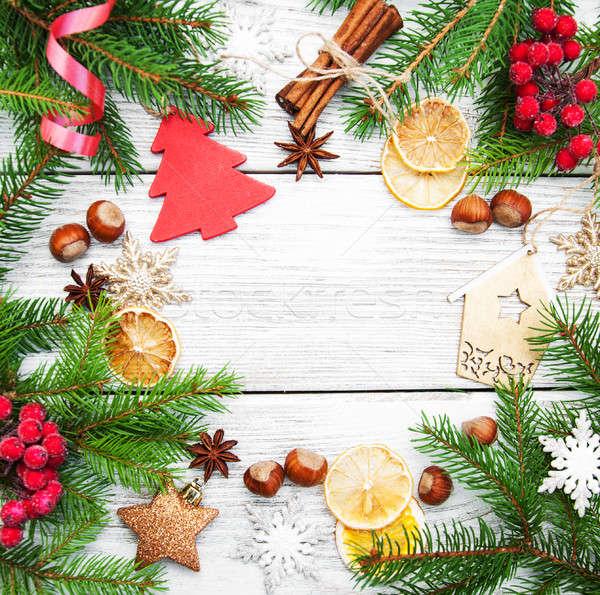 Karácsony ünnep sütés hozzávalók fenyő ág Stock fotó © almaje