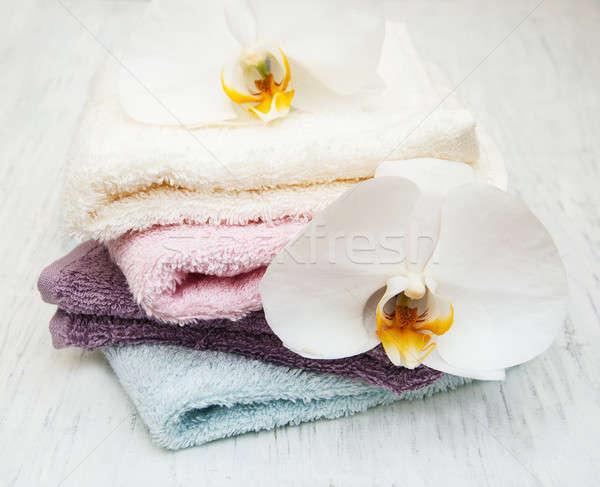 Orquídeas spa toallas flor naturaleza Foto stock © almaje