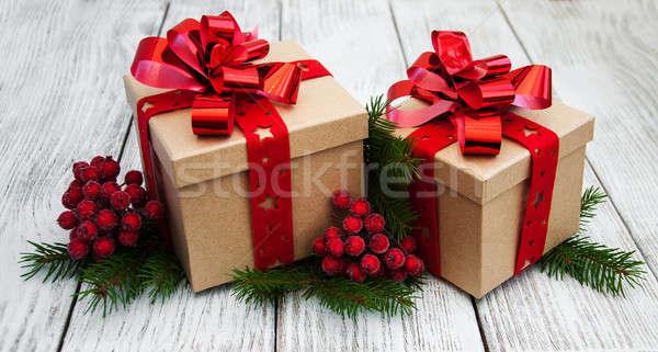 Christmas decoraties oude houten papier Stockfoto © almaje