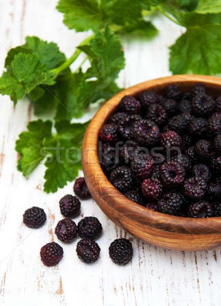 Bowl with blackberries Stock photo © almaje