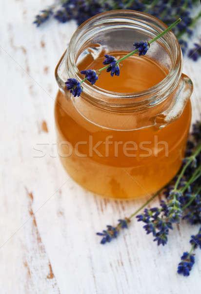 Foto d'archivio: Miele · lavanda · fiori · vecchio · legno · salute