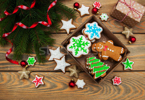 Box with Christmas cookies Stock photo © almaje