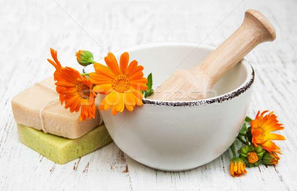 calendula flowers and bath soap Stock photo © almaje
