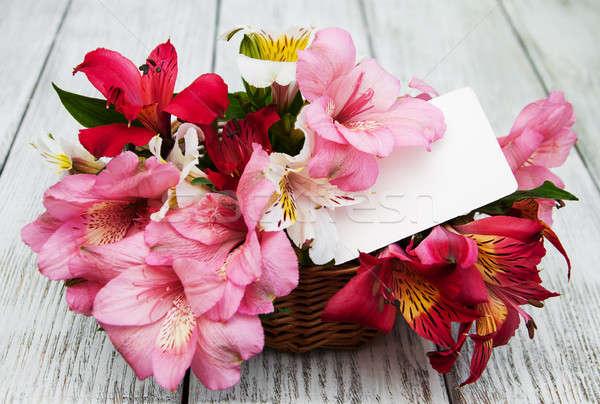 Gyönyörű virágcsokor rózsaszín szeretet terv levél Stock fotó © almaje