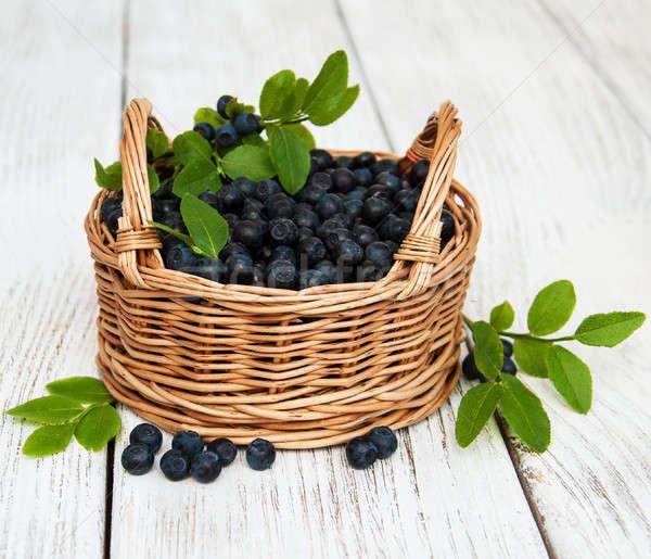 Basket mirtilli vecchio legno alimentare salute Foto d'archivio © almaje