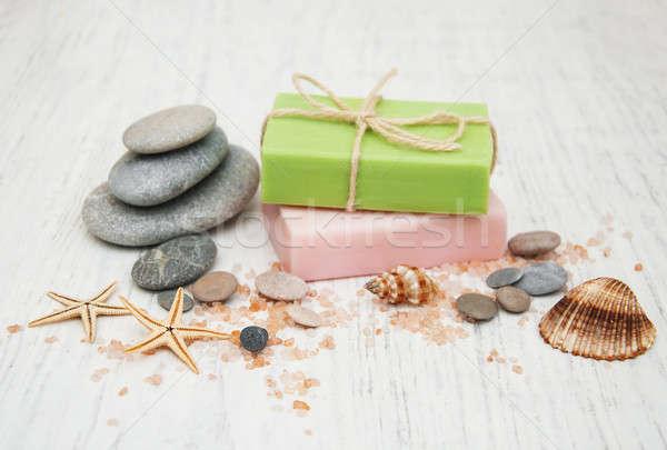 Spa zeep massage stenen oude houten Stockfoto © almaje