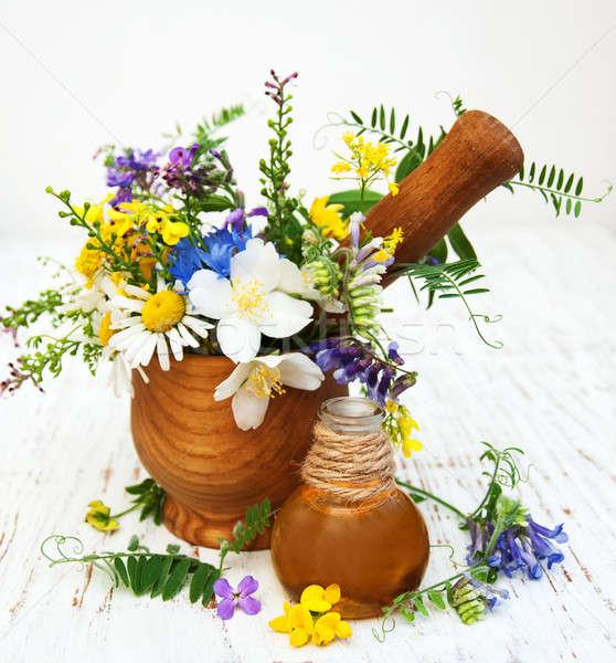 Nature oil with wildflowers Stock photo © almaje