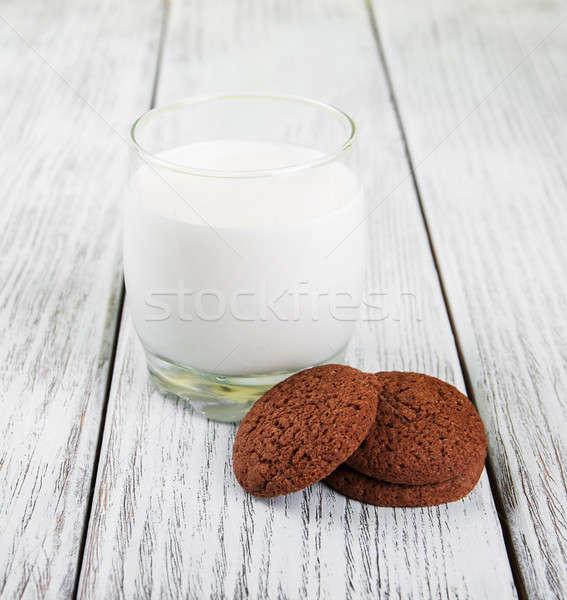oatmeal cookies and glass of milk Stock photo © almaje