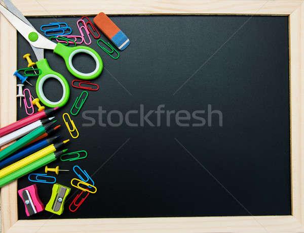 Escolas quadro-negro caneta lápis educação Foto stock © almaje