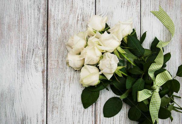 белый роз деревянный стол лента старые весны Сток-фото © almaje