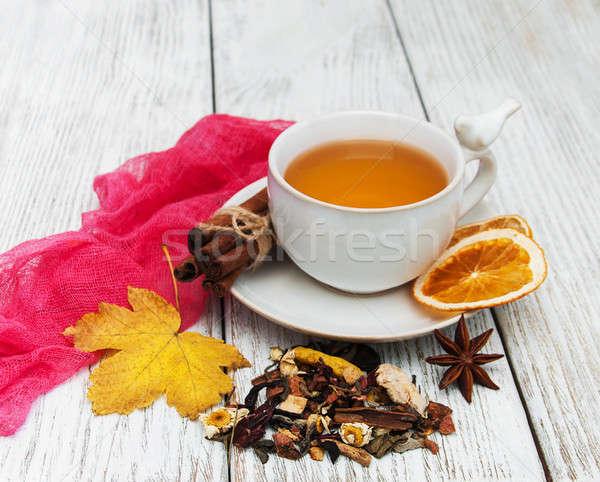горячей чай специи Кубок падение листьев Сток-фото © almaje