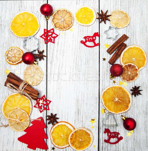 Navidad vacaciones ingredientes mesa de madera marco Foto stock © almaje