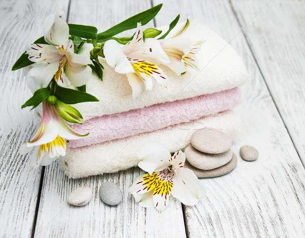 Fürdő virágok fából készült virág asztal kő Stock fotó © almaje