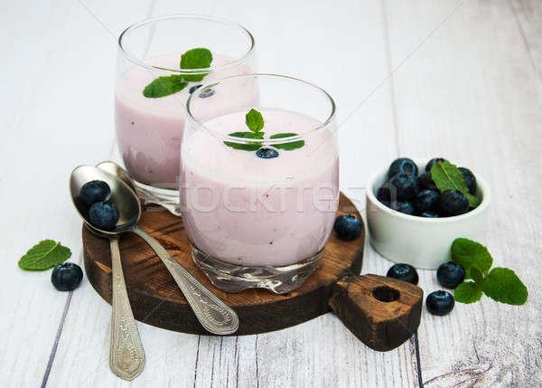 Gözlük yoğurt tablo taze karpuzu Stok fotoğraf © almaje