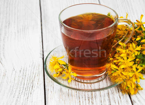 herbal tea in a glass cup Stock photo © almaje