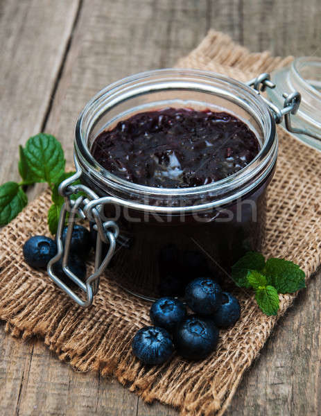 Jar jam tabel blad vruchten Stockfoto © almaje