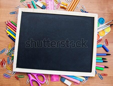 Stock fotó: Tanszerek · iskolatábla · fából · készült · könyv · háttér · szoba