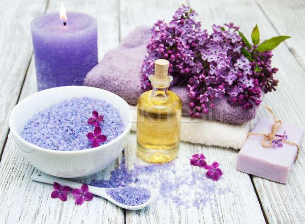Foto stock: Spa · lila · flores · masaje · productos · flor