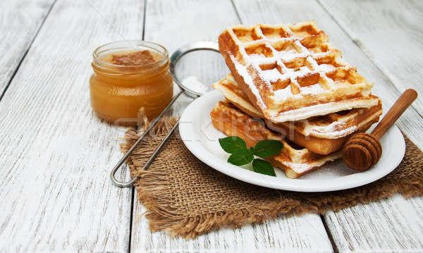 belgian waffles on the table Stock photo © almaje