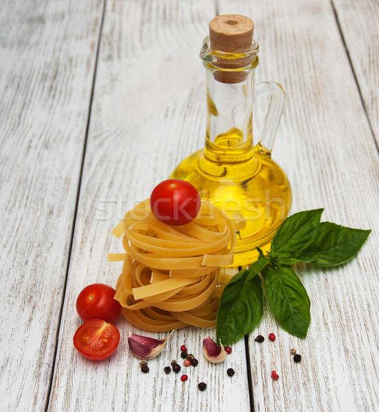 のイタリア料理 材料 古い 木製 背景 キッチン ストックフォト © almaje