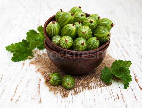 gooseberries with leaves Stock photo © almaje