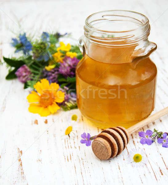 Méz vad virágok fából készült virágok étel fa Stock fotó © almaje