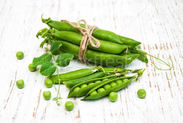 綠色 新鮮 豌豆 木 食品 花園 商業照片 © almaje
