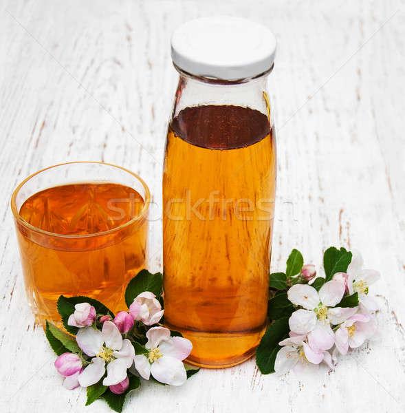 ガラス リンゴジュース 花 木製 自然 光 ストックフォト © almaje