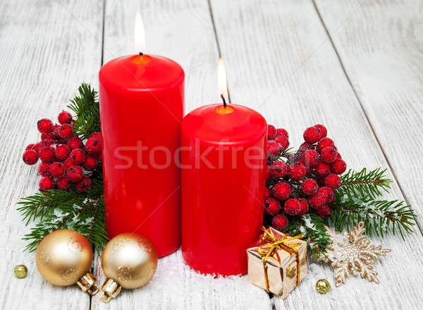 Decoratief christmas Rood kaarsen pine brand Stockfoto © almaje