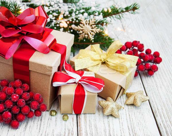Stok fotoğraf: Noel · hediye · kutusu · süslemeleri · eski · ahşap · kâğıt
