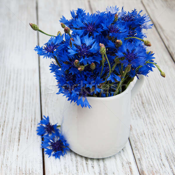 ваза старые деревянный стол цветок лист лет Сток-фото © almaje